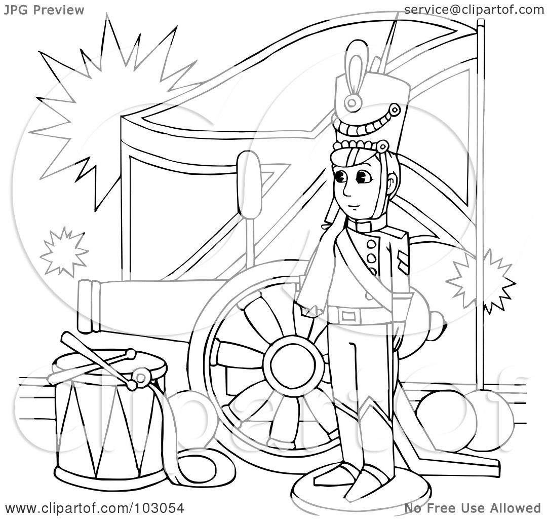 Royalty Free Rf Clipart Illustration Of A Coloring Page Outline Of A Sol R By A Flag And
