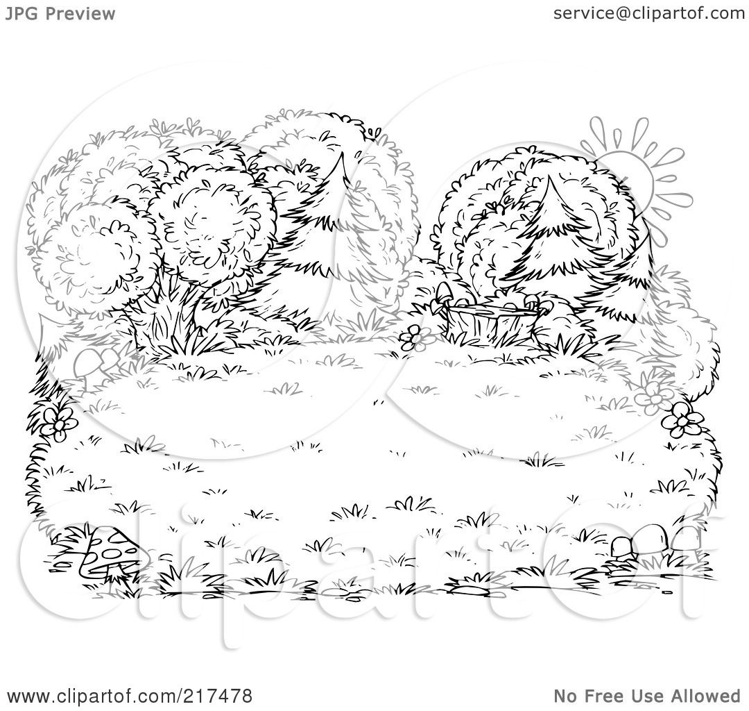 Royalty Free Rf Clipart Illustration Of A Coloring Page Outline Of A Sun Behind Lush Trees And