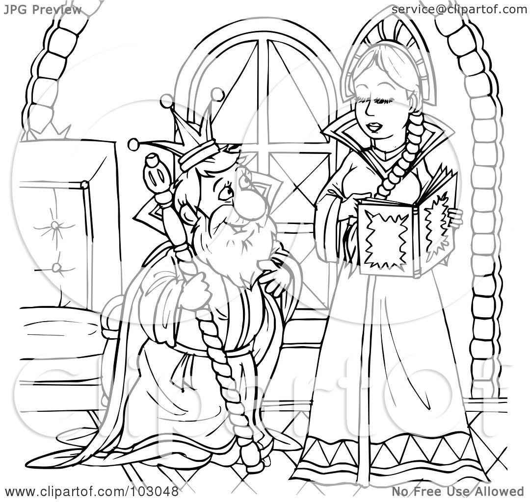 Royalty Free Rf Clipart Illustration Of A Coloring Page Outline Of An Old King And Young Queen