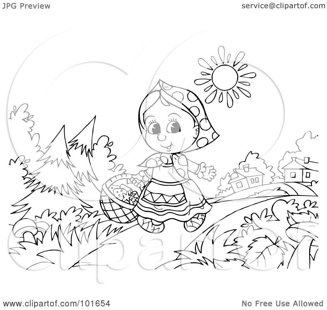 Royalty Free Rf Clipart Illustration Of A Coloring Page Outline Of Little Red Riding Hood