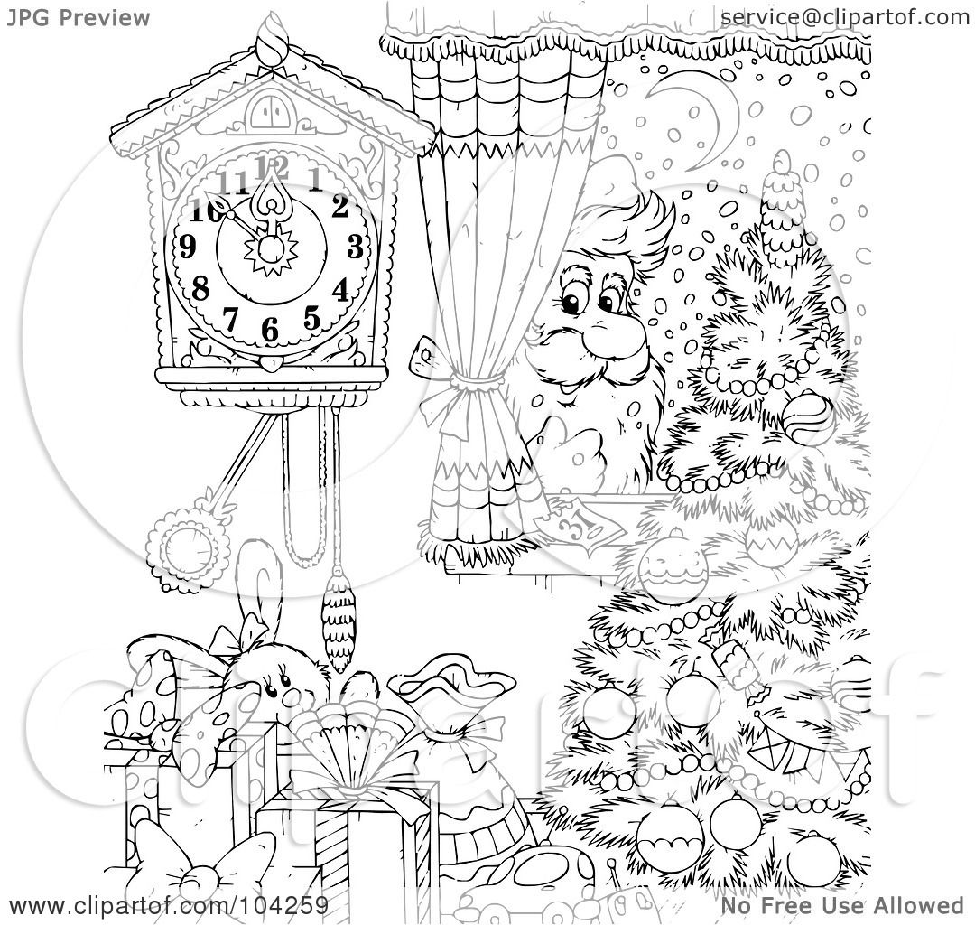 Royalty Free Rf Clipart Illustration Of A Coloring Page Outline Of Santa Peeking In A Window
