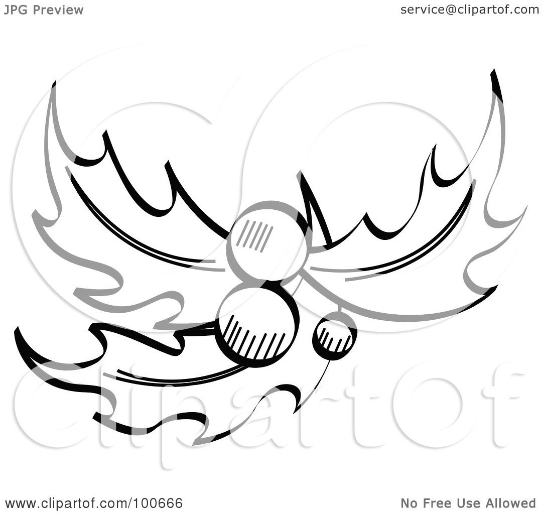Royalty Free Rf Clipart Illustration Of A Coloring Page Outline Of Three Holly Leaves With And