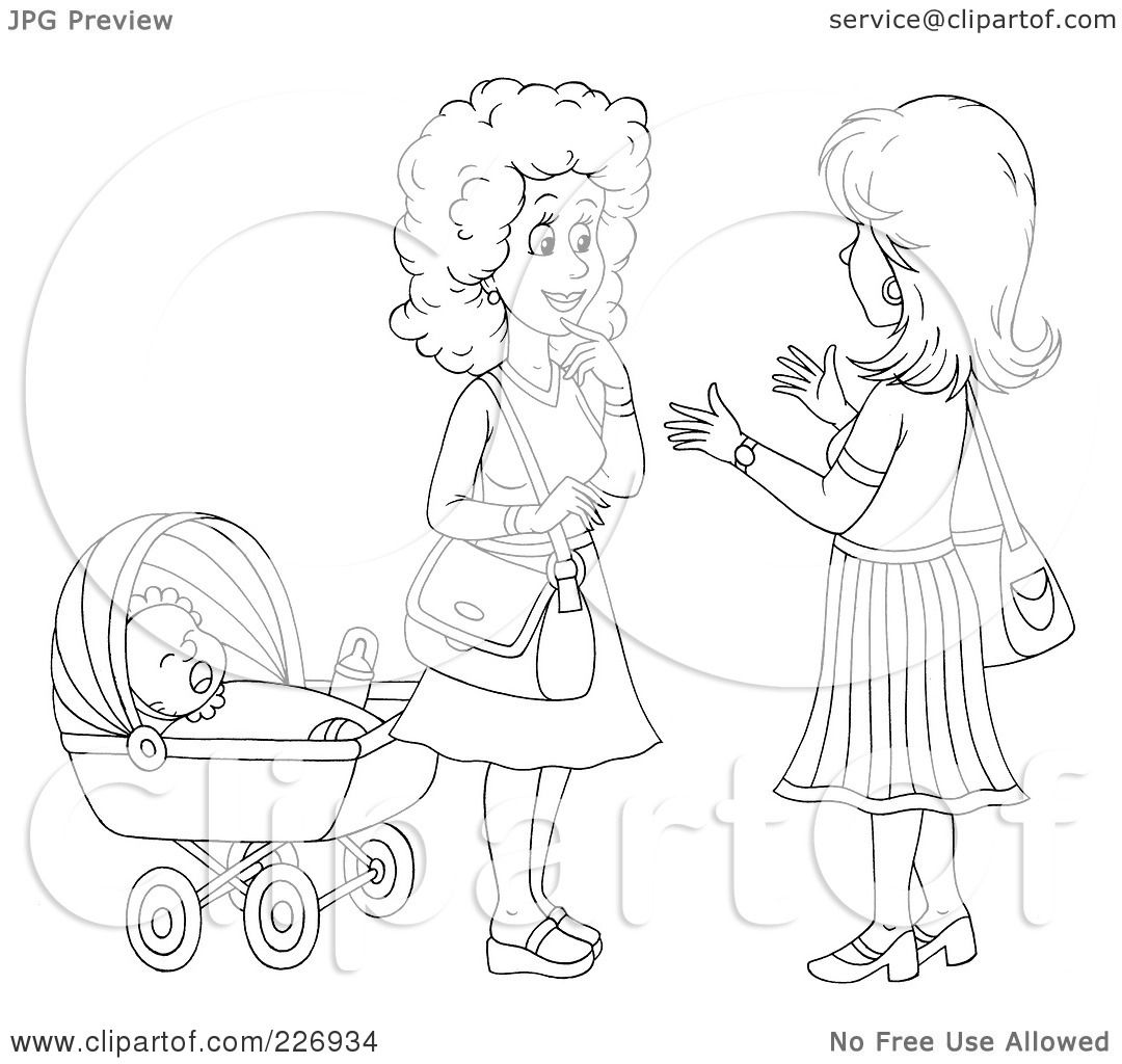 Royalty Free Rf Clipart Illustration Of A Coloring Page Outline Of Two Women Chatting By A