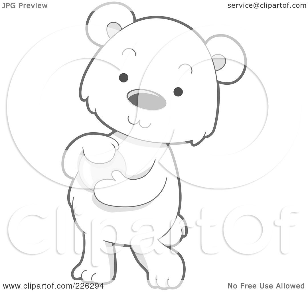 Royalty Free Rf Clipart Illustration Of A Cute Baby Polar Bear Holding A Glass Ball By Bnp