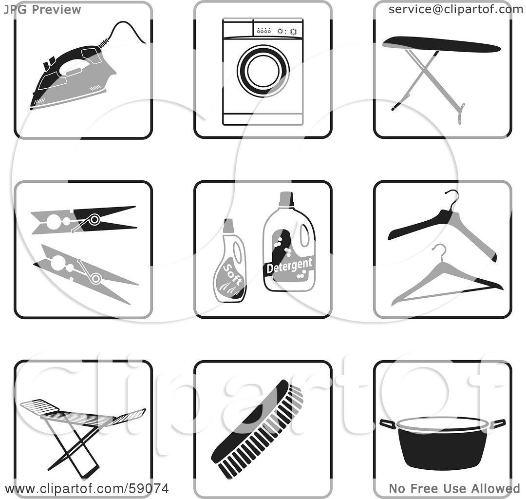 Royalty Free Rf Clipart Illustration Of A Digital Collage Of Black And White Laundry Icon