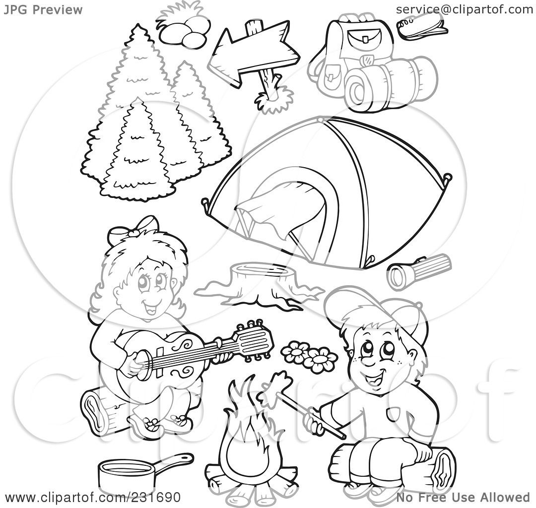 Royalty Free Rf Clipart Illustration Of A Digital Collage Of Coloring Page Outlines Of Camping