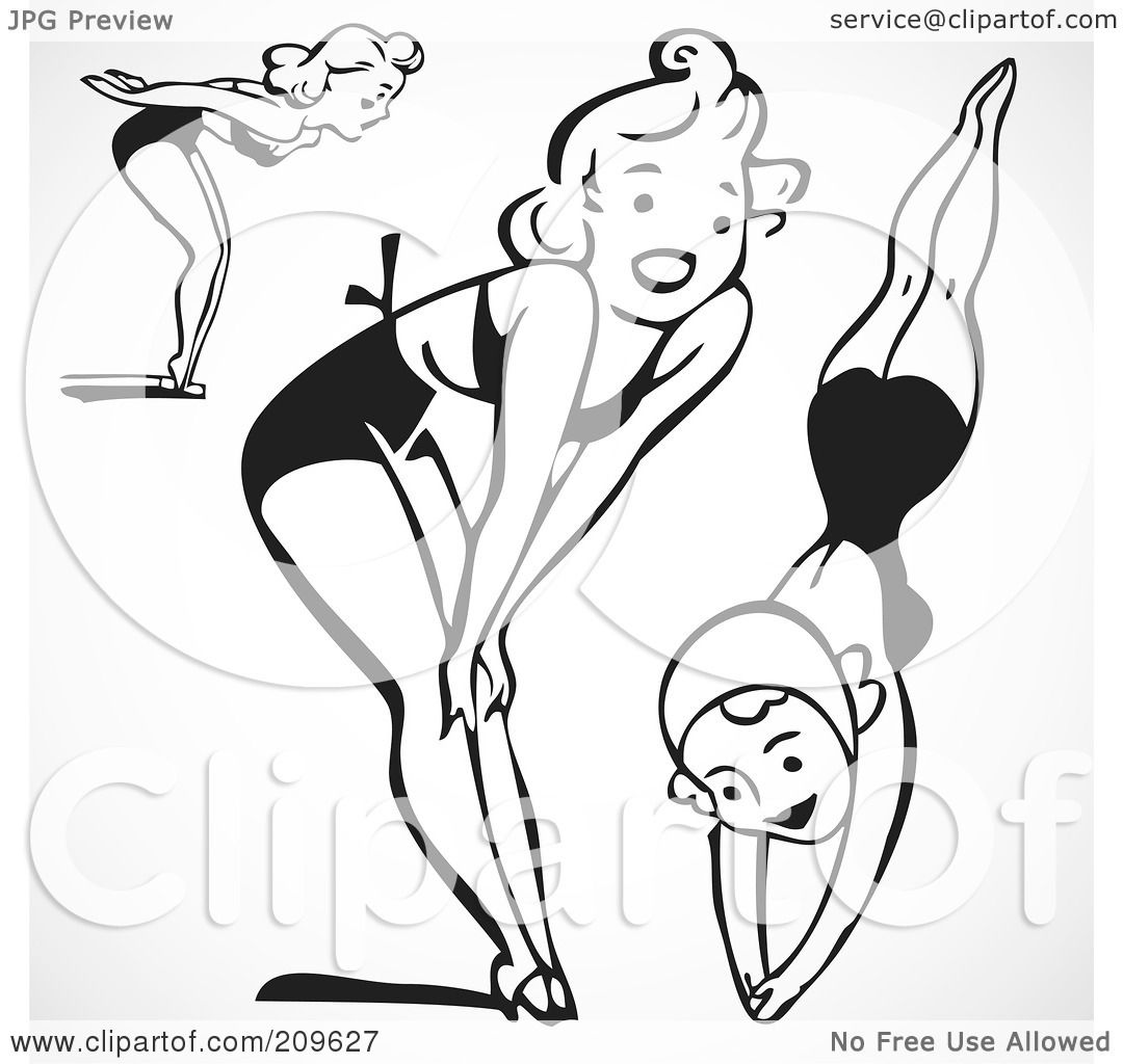 Royalty Free Rf Clipart Illustration Of A Digital Collage Of Retro Black And White Women In