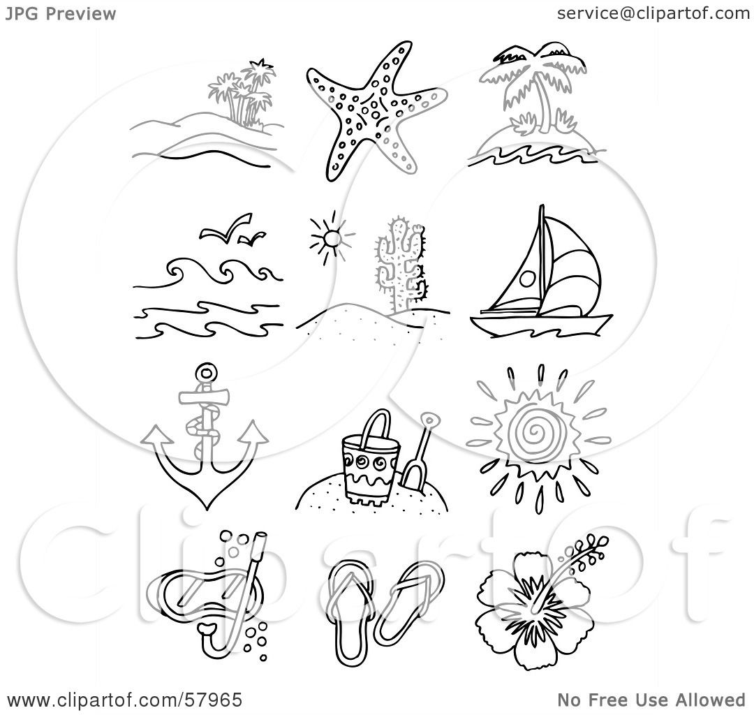 Royalty Free Rf Clipart Illustration Of A Digital Collage Of Travel And Beach Scenes And Items
