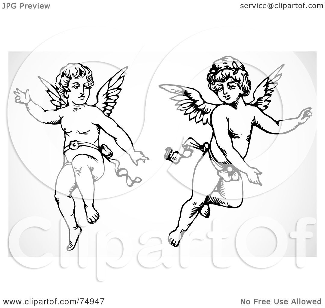 cupid drawing and white cupid angels