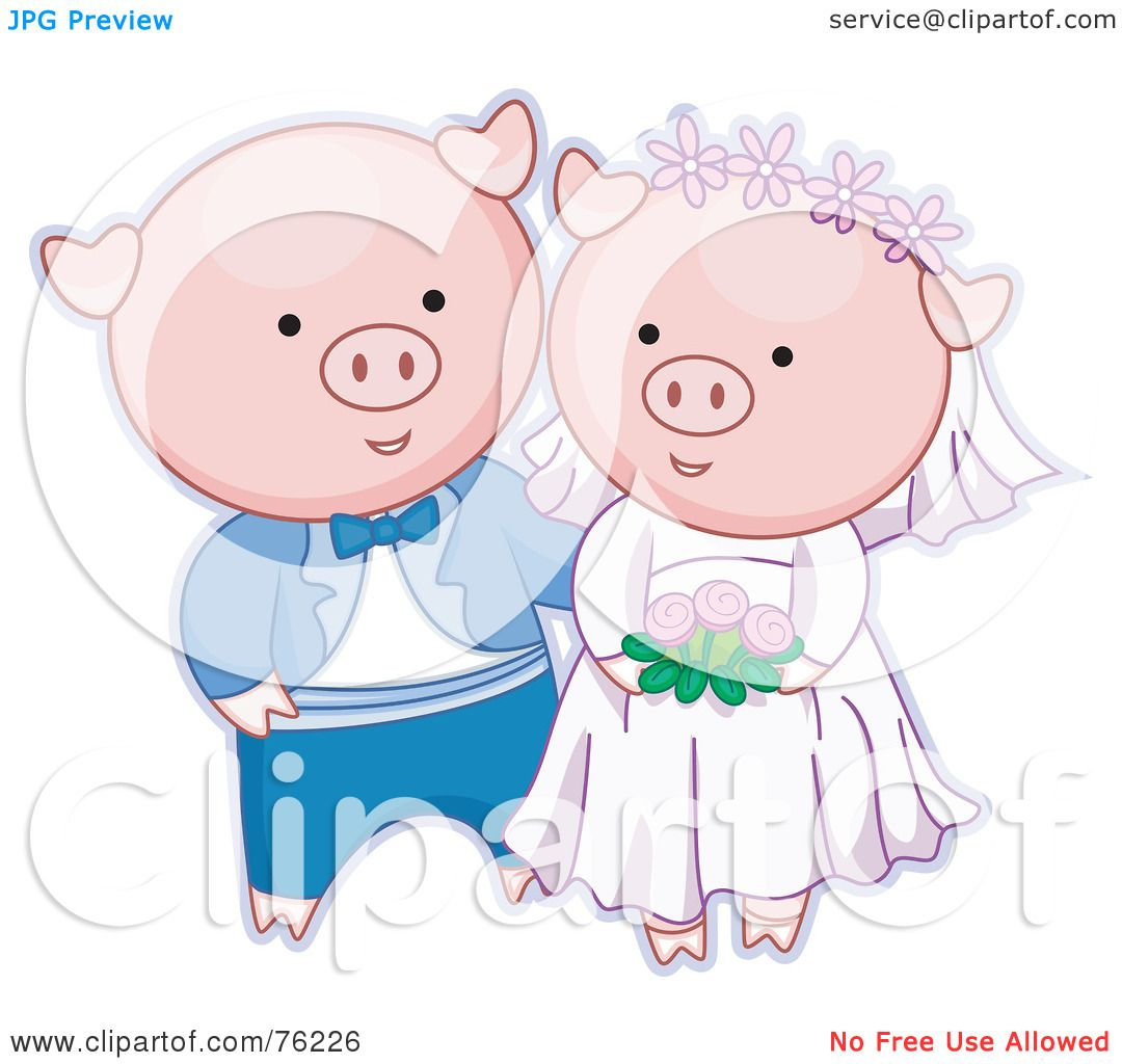 And Bride Clip Pig Art Groom