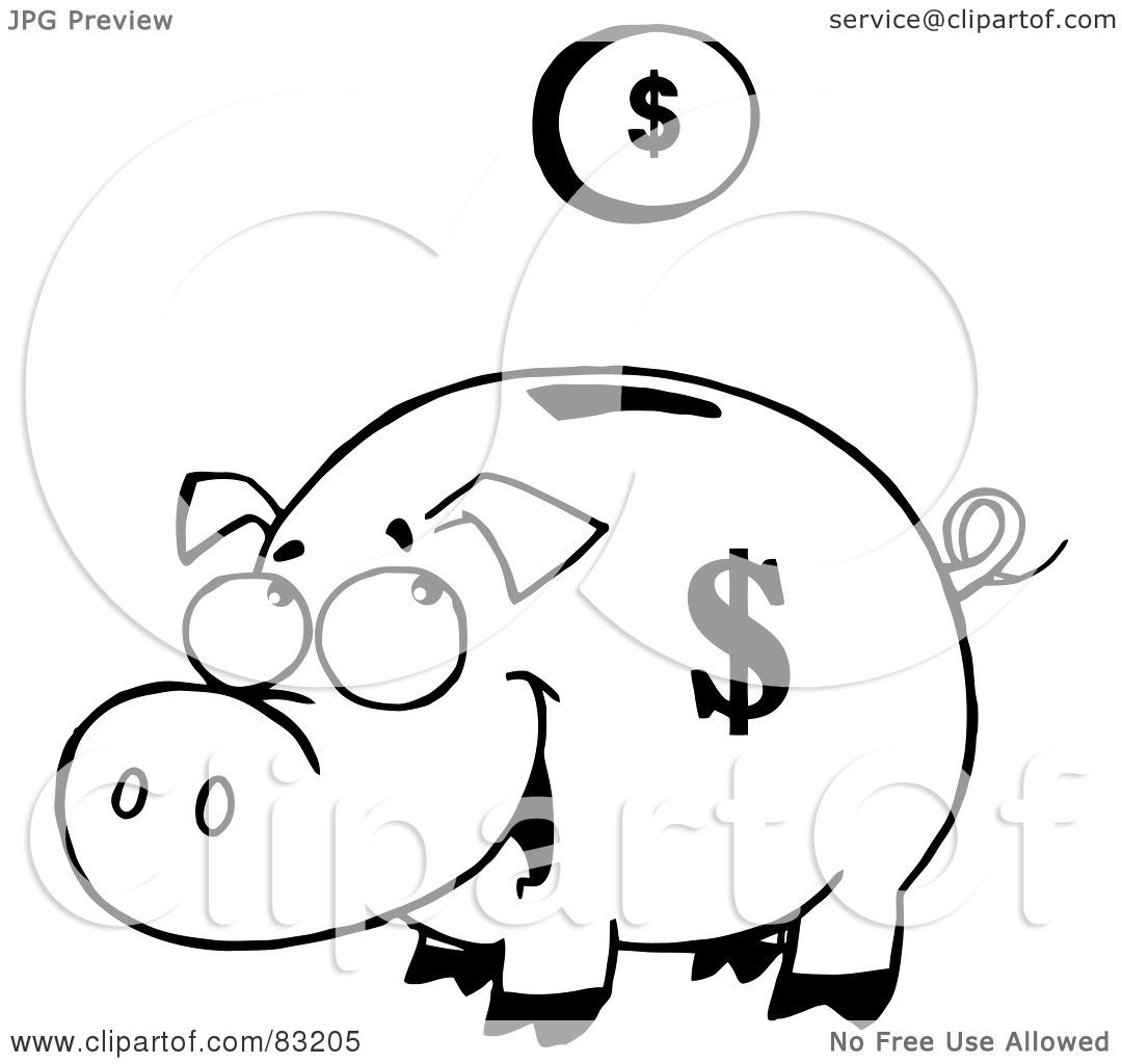 Royalty Free Rf Clipart Illustration Of An Outlined Coin