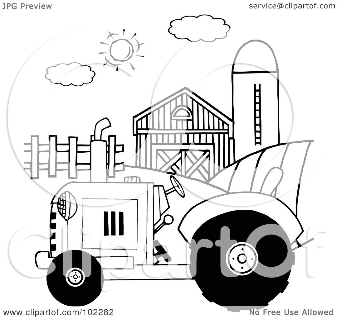 Royalty Free Rf Clipart Illustration Of An Outlined Farm