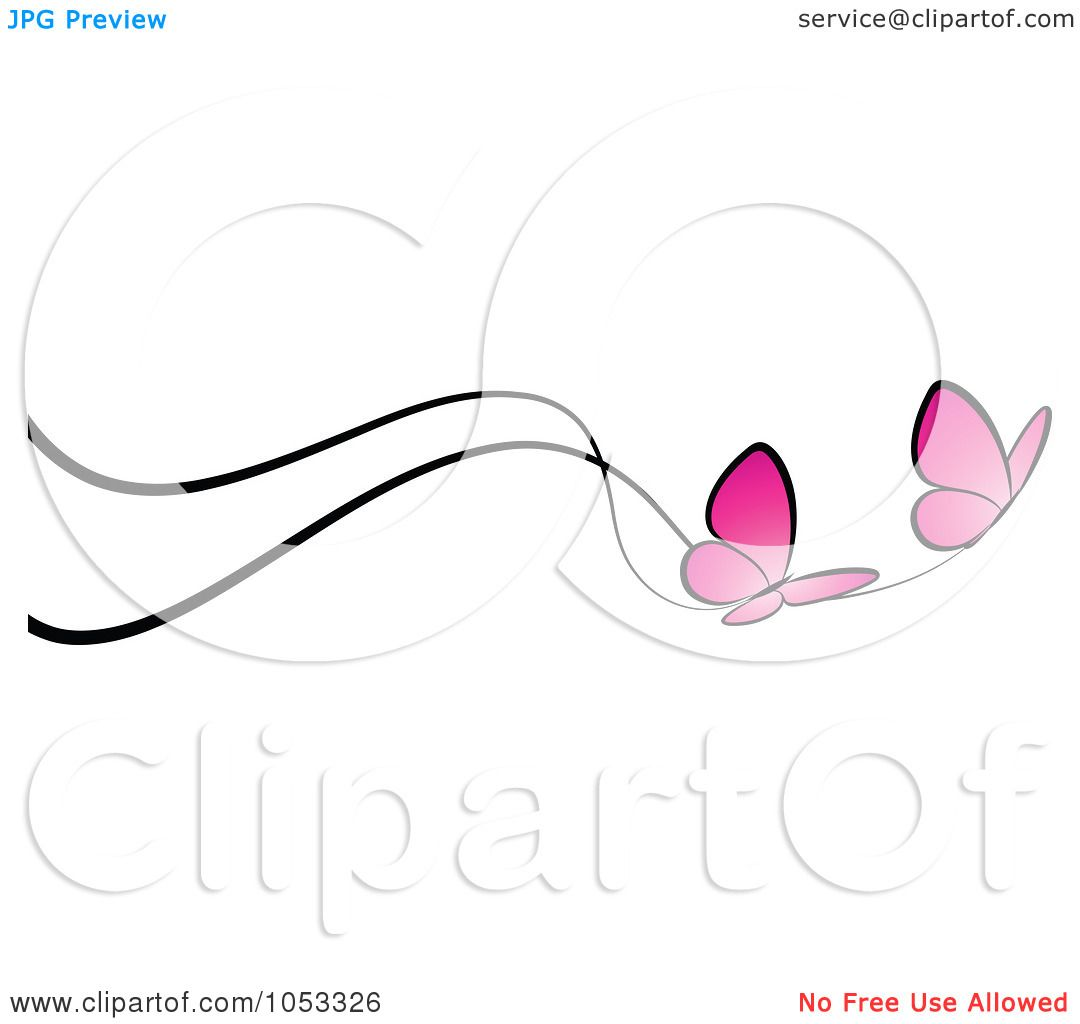 Royalty Free Vector Clip Art Illustration Of A Border Of Two Pink Butterflies And Black Lines By