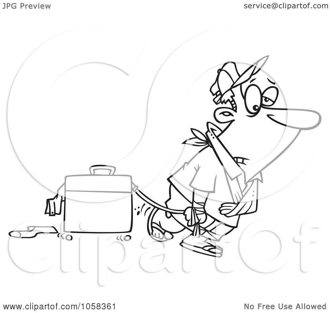 Royalty Free Vector Clip Art Illustration Of A Cartoon Black And White Outline Design Of An