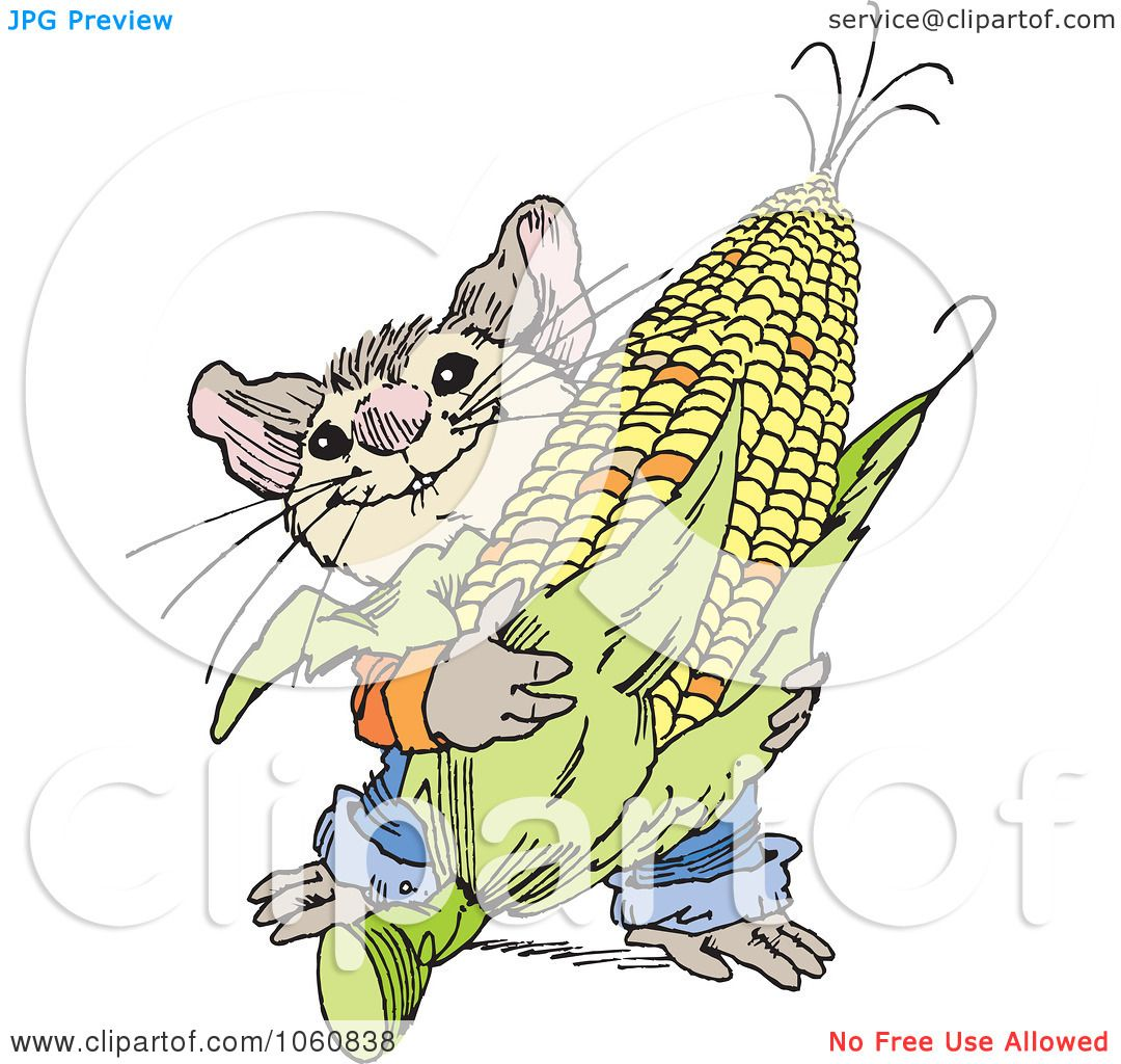 Royalty Free Vector Clip Art Illustration Of A Cute Mouse Harvesting Corn By Johnny Sajem