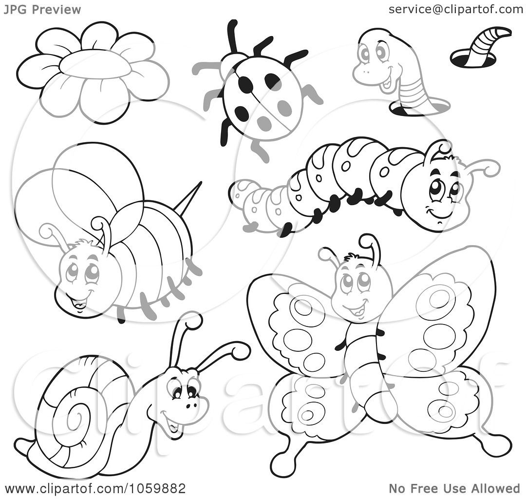 Royalty Free Vector Clip Art Illustration Of A Digital Collage Of Coloring Page Outlines Of