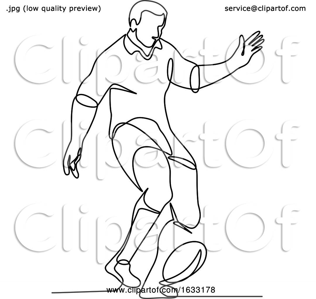 Rugby Player Kicking Ball Continuous Line By Patrimonio