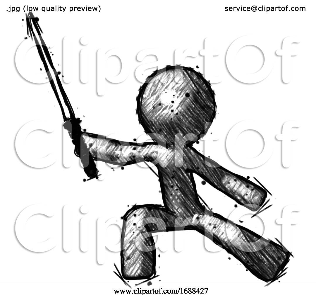 Sketch Design Mascot Man With Ninja Sword Katana In
