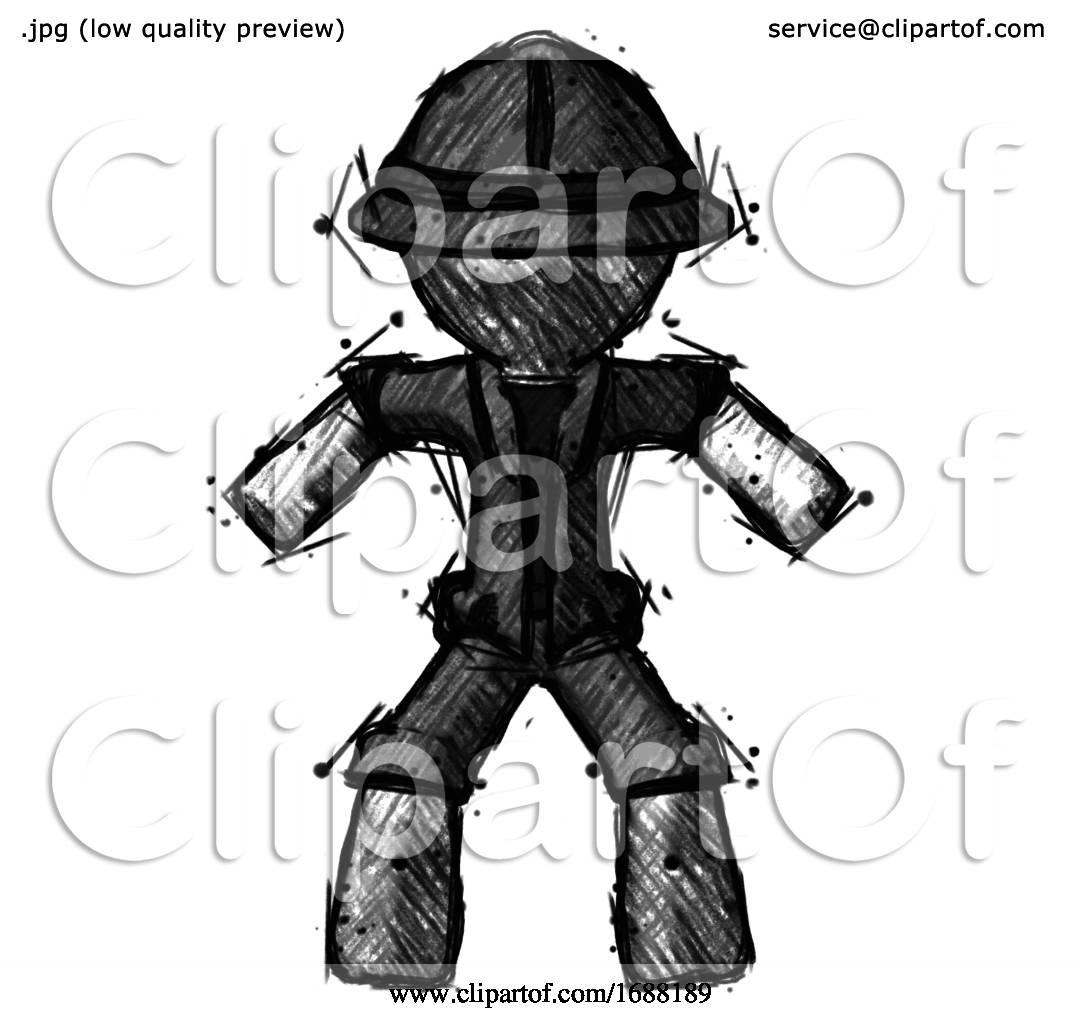 Sketch Explorer Ranger Male Sumo Wrestling Power Pose By