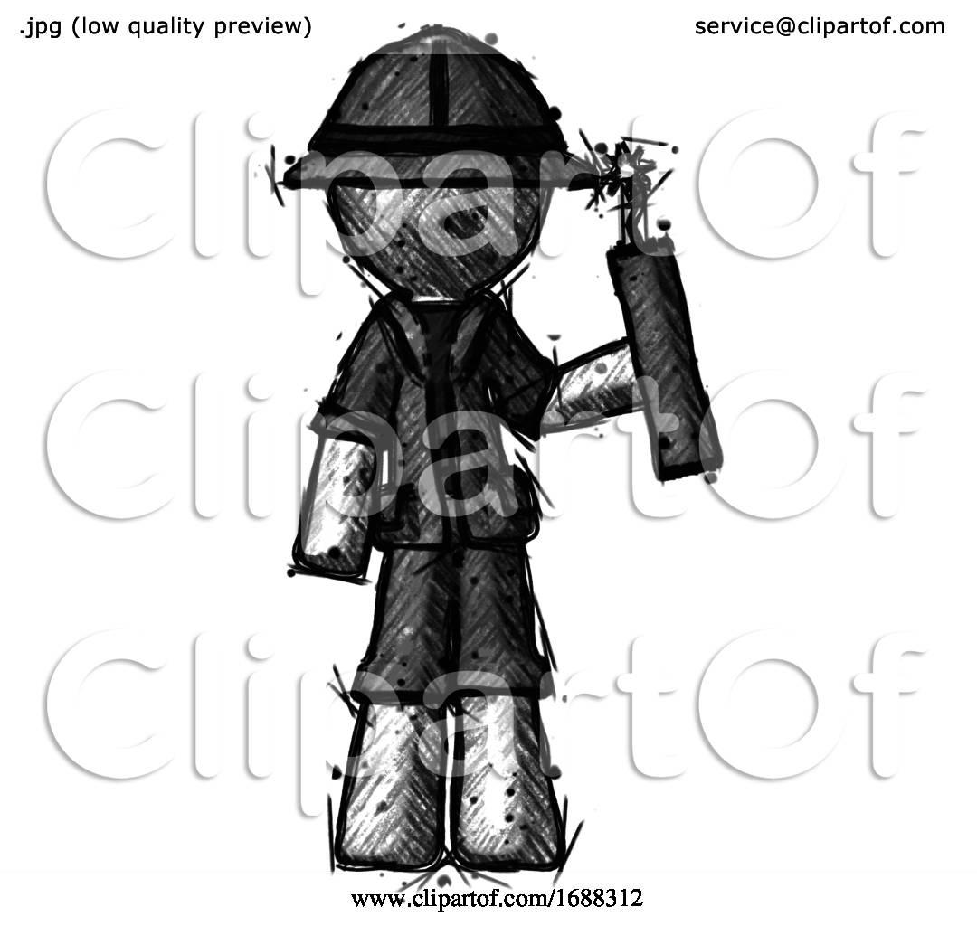 Sketch Explorer Ranger Man Holding Dynamite With Fuse Lit