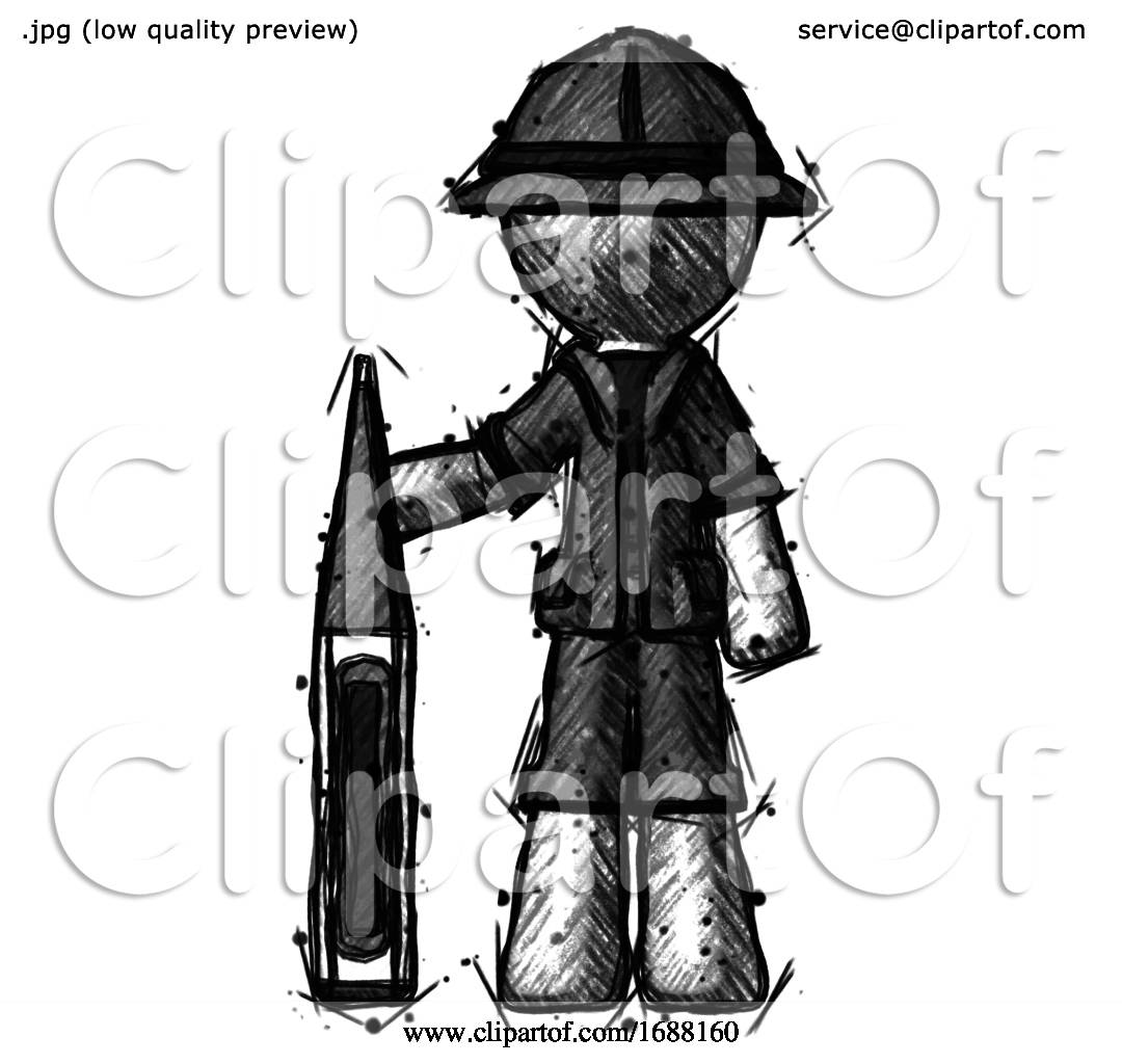 Sketch Explorer Ranger Man Standing With Large Thermometer