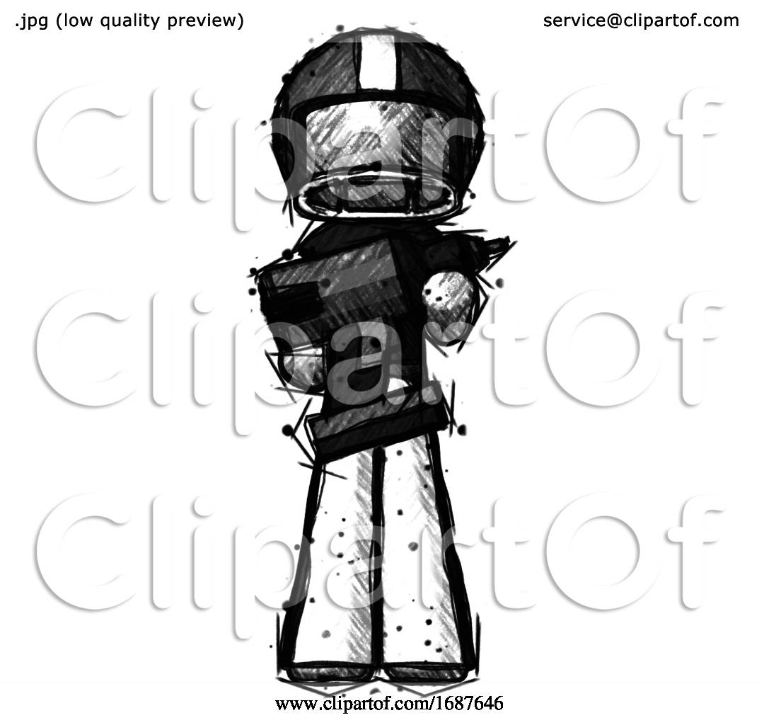 Sketch Football Player Man Holding Large Drill By Leo