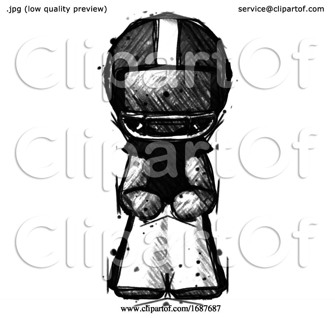 Sketch Football Player Man Squatting Facing Front By Leo