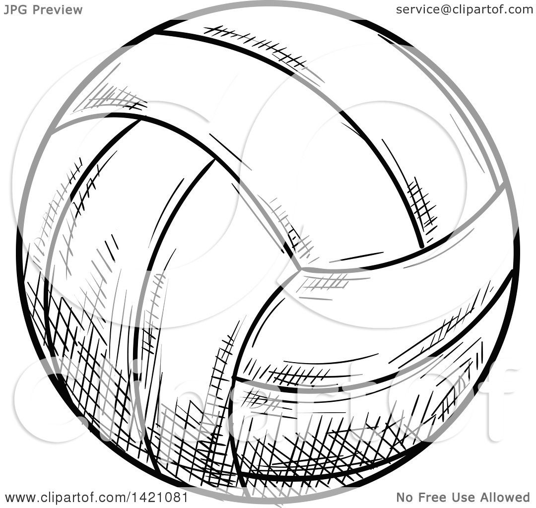 Sports Clipart Of A Black And White Sketched Volleyball