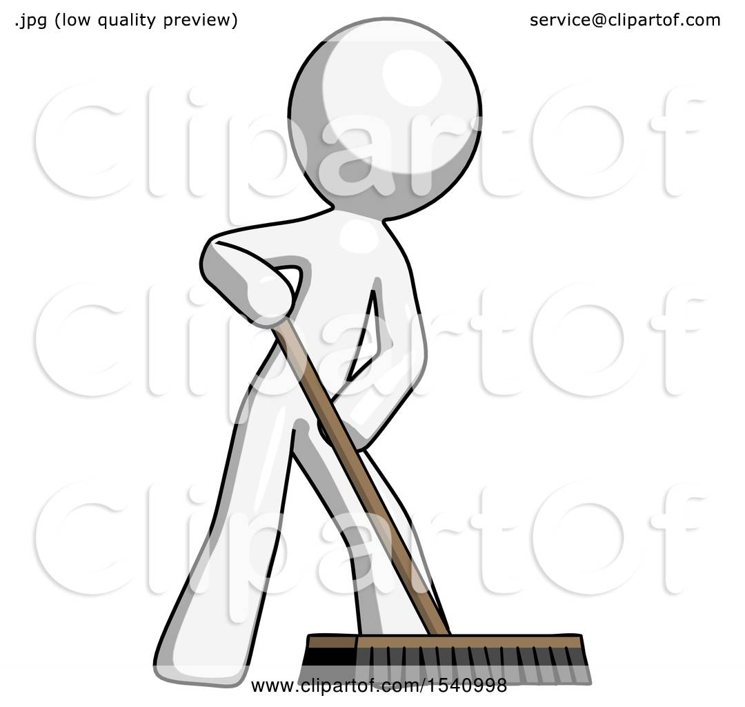 White Design Mascot Man Cleaning Services Janitor Sweeping