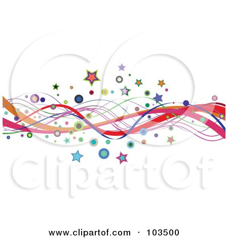 Royalty-Free (RF) Clipart Illustration of a Border Or Colorful Wavy Lines, Stars And Circles On White by KJ Pargeter