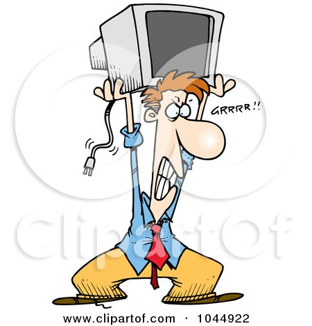 Royalty-free clipart picture of a frustrated businessman throwing a computer