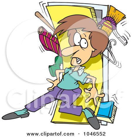 Royalty-Free (RF) Clip Art Illustration of a Cartoon Woman With A Messy Closet by Ron Leishman