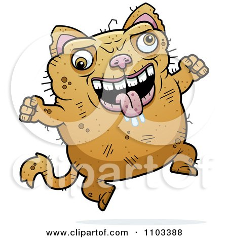 Clipart Waving Ugly Cat Royalty Free Vector Illustration By Cory Thoman 1103395