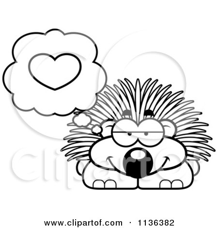 cartoon clipart of an outlined porcupine in love black and white