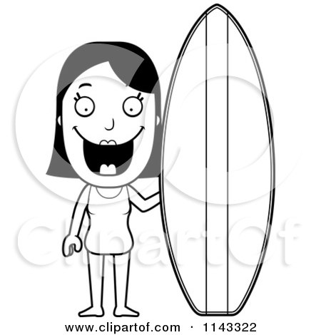 cartoon clipart of a black and white summer woman with a surfboard