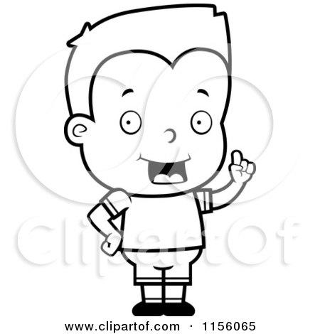 cartoon clipart of a black and white little boy expressing an idea