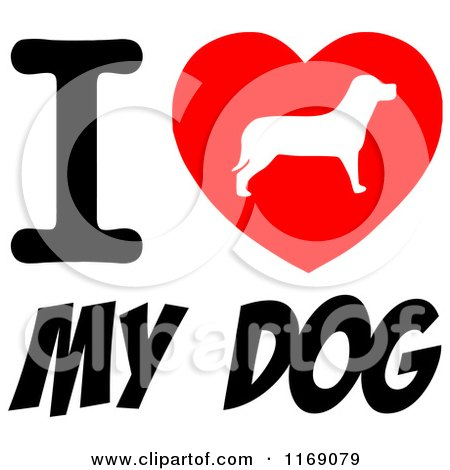 Download Cartoon of a Pooch Silhouette Heart and I Love My Dog Text ...