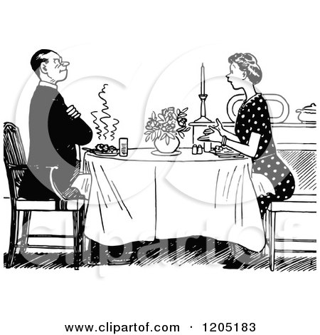 Clipart Retro Black And White Couple Dining By Candle ... (450 x 470 Pixel)