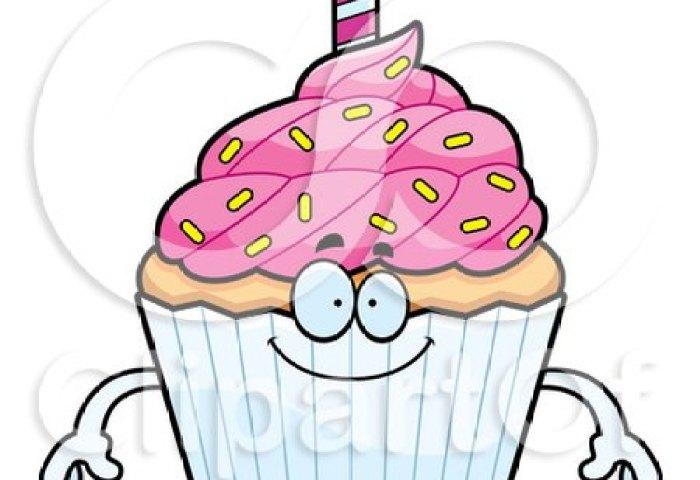 Cartoon Of A Happy Birthday Cupcake Mascot Royalty Free Vector