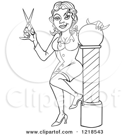 clipart of an outlined female barbers assistant or hairstylist holding scissors by a pole