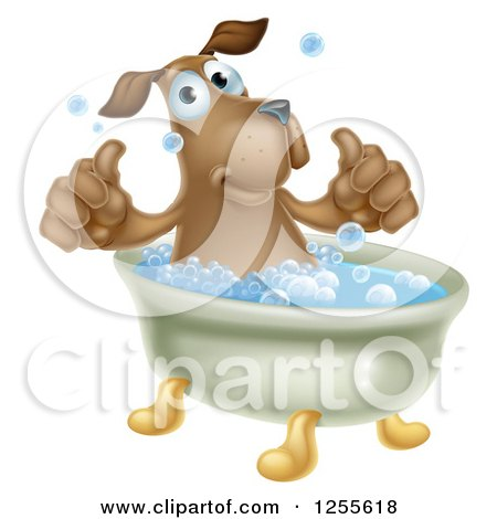 Clipart Relaxed Woman Soaking In A Floral Bath Royalty