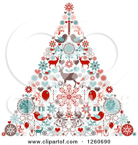 Clipart Of A Retro Christmas Tree Made Of Up Holiday Items