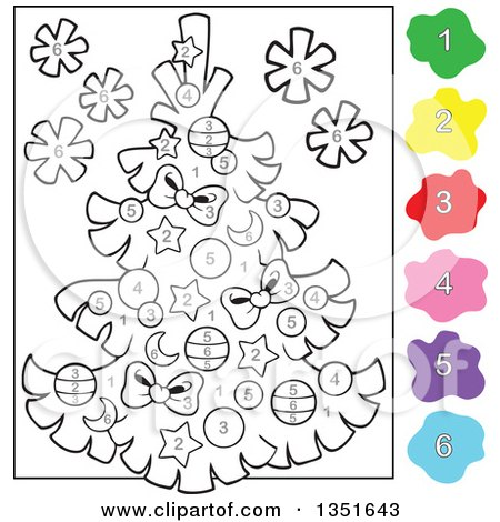 clipart of a cartoon christmas tree color by number project