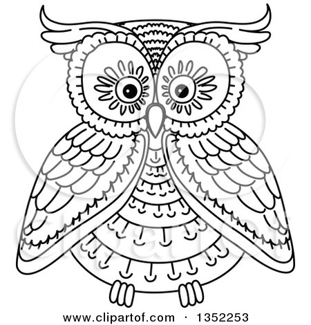 Clipart Of A Cute Black And White Owl Royalty Free Vector