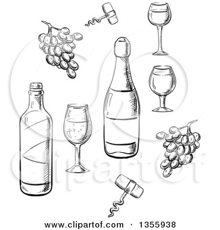 Clipart of Black and White Sketched Wine Bottles, Glasses ... (450 x 470 Pixel)