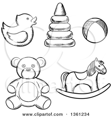 Clipart of Black and White Sketched Baby Toys - Royalty ... (450 x 470 Pixel)