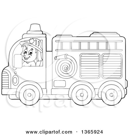 Coloring Page Outline Of A Fire Truck With A Ladder