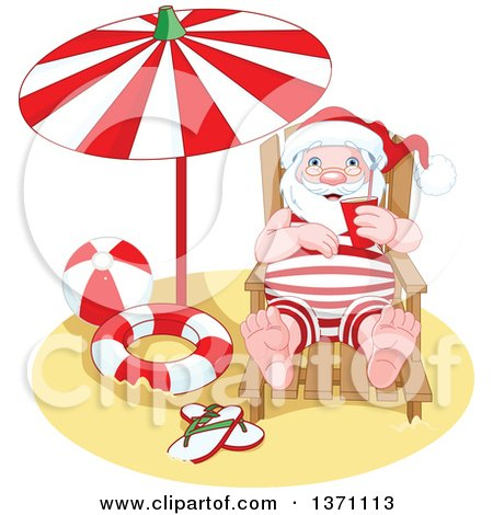 Clipart of a Relaxed Happy Santa Claus Taking a Beach ... (450 x 470 Pixel)