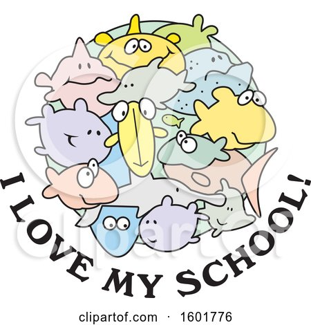 Download Clipart of a Group of Fish with I Love My School Text ...