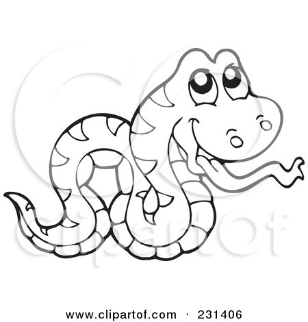 clipart illustration of a coloring page outline of a snake by visekart